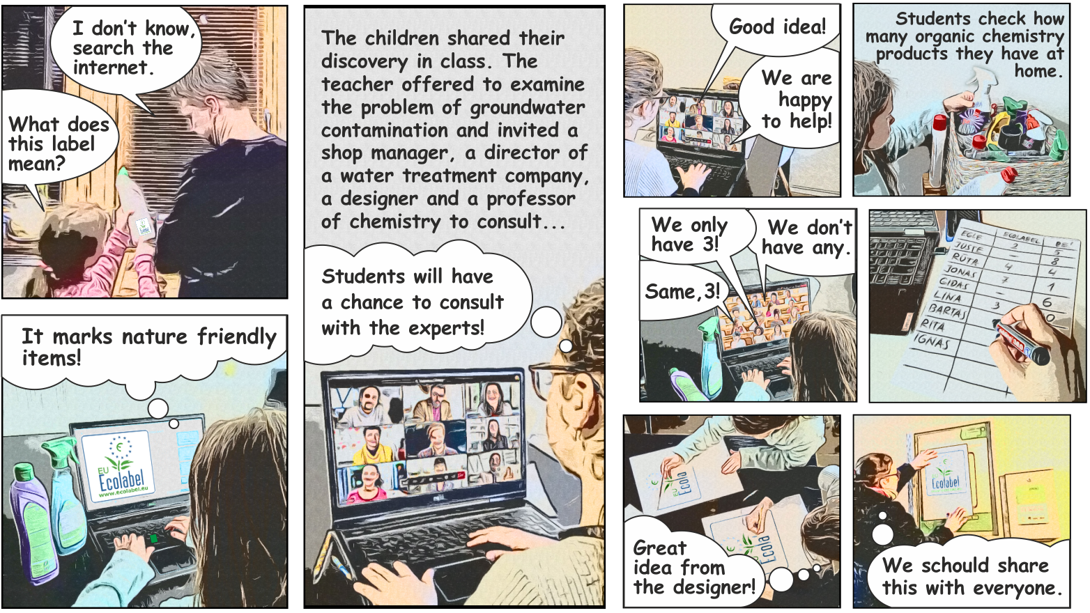 Comic strip, explaining what open schooling can look like.
